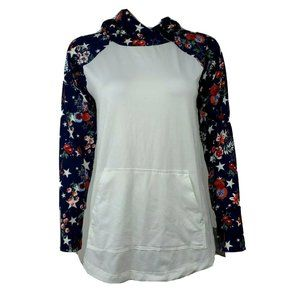 NWT LULAROE White Blue Floral Hooded Amber Top M